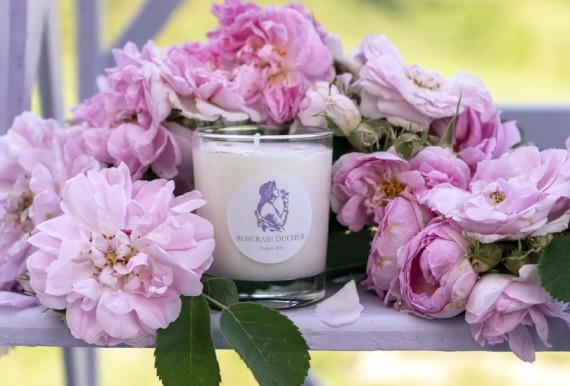 Bougie en cire végétale parfumée à la rose