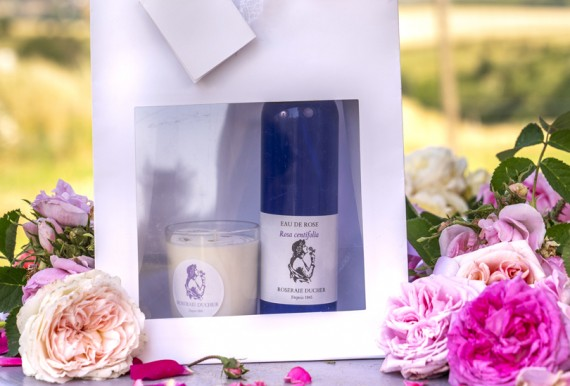 Candle box with rose + Hydrolat rose Damascena